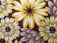"""Gelbe, taupe, weiße und braune Blumen auf dunkelbraunem Hintergrund """"Bold Moves"""", Marcus Fabrics"""