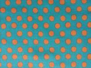 Kaffe Fassett Classics, Spot, orange Punkte auf türkisfarbenem Hintergrund