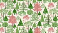 Patchworkstoff, Weihnachtsstoff, Tannenbäume, makower uk, 1974