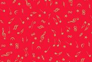 Patchworkstoff, Metallic Notes, Noten, rot, 2098,  Makower